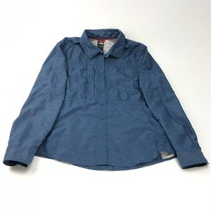 The North Face blue womens button down long sleeve